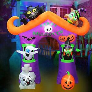 9 Ft Halloween Inflatable Archway Arch Decoration with Cat Owl Ghost Witch