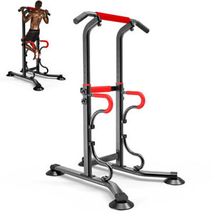 Adjustable Dip Station Chin Pull Up Bar Power Tower Workout Gym Fitness Core ❀