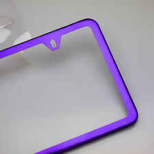 Slim License Plate Cover Frame Holder 2 Hole Stainless Steel Chrome Candy Purple