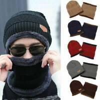 Men Women Winter Beanie Hat Neck Scarf Warmer Snow Ski Cap Fleece Balaclava Set