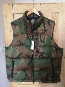 Polo Ralph Lauren  Gilet Vest  body warmer XL stadium snow beach camo camouflage
