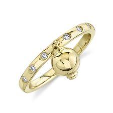 Ring Womens Statement Right Hand Cocktail 14K Yellow Gold Diamond Dangle Ball