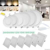 Dimmable LED Recessed Panel Light 6W 9W 12W 15W 18W 24W Ceiling Downlights Bulbs