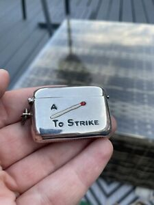 Rare Novelty Solid Silver Enamel Vesta Case Match Safe Holder Striker