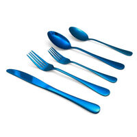 20-Piece Blue Flatware Set Reflective Stainless Steel Silverware Service For 4