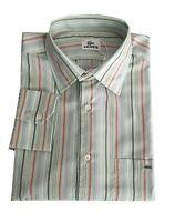 Lacoste Camicia Rigata in Cotone Uomo Verde Regular | -48% OCCASIONE |