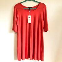 Eileen Fisher Elbow Sleeve Tunic Jersey Knit Dress Women's Size Large