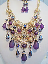 Multi Purple Lucite Bead Faceted Glass Bead Gold Tone Bead Necklace Earring Set