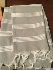 Traditional Turkish Cotton Hand Loomed XL Bath Beach Towel Gray W/ White Stripes