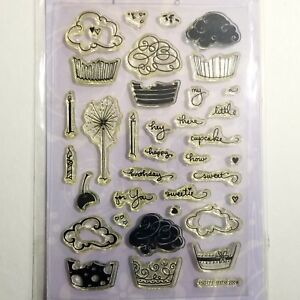 Stampendous Clear Stamps Hey There Cupcake Birthday Candle Cherry Sparkler 35 pc