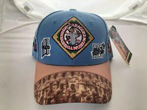 VINTAGE DEADSTOCK NEGRO LEAGUE BASEBALL MUSEUM ALL OVER STRAPBACK CAP BLUE HAT