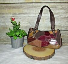 Fossil Brown Floral Patchwork Leather Small Shoulder HandBag Purse Tote