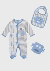 BNWT, X3 Pce, All-In-One, Sleepsuit, Bib, Toy, Size 000, 0-3 Mths, Cotton,