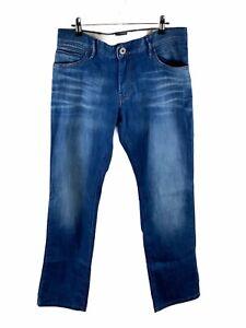 Hugo Boss Orange Stretch Denim Jeans Mens Size 33 Blue Regular Fit Zip Close