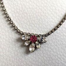 COLLIER vintage fleur strass rose ! Vintage Necklace