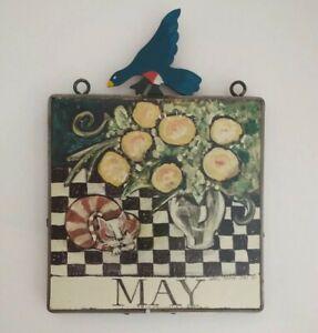 "Nancy Thomas~MAY~Wall Plaque~Cat~Flowers~Folk Art~1988~Calendar~8""x8""~DAMAGE"