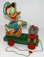 """DISNEY 1946 DONALD DUCK """"XYLOPHONE"""" WOODEN PULL TOY # 177-EARLY POST WAR TOY-EX."""