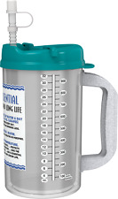 32 oz Insulated Hospital Mugs with Teal Lids & Straw | Water Essential  BPA FREE