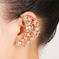 Crystal Spider Web Ear Cuff Clip Punk Earrings For Women Gift Fashion Jewelry