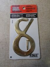 "New Cole 03-6034 Solid Brass House Number 8 4"" *Free Shipping*"