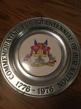 Commemorating The Bicentennial Of Our Nation Pewter Plate Lehigh County Pa 1776