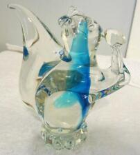 Clear Glass Squirrel Holding Nut - Blue Streak