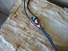 Vintage Turquoise,Coral,M.O.P Sterling Silver Bolo Tie by L. Benally 1950's