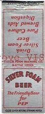 Rare 1930s Silver Foam Beer matchcover Tavern Trove Battle Creek Michigan