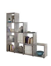 Regal MAIK Treppenregal 10 Fächer Stufenregal Raumteiler Bücherregal grau
