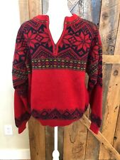 Norwegian Designs Men's Wool Blend Red Gray Sweater Fair Isle Nordic Canada L