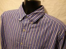 Mens Chaps Ralph Lauren L/S Button Front Blue Stripe Shirt sz L Cotton Blend
