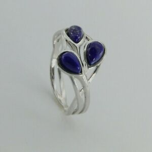 Size 8 - Natural Leaf BLUE LAPIS LAZULI Ring - 925 STERLING SILVER #19