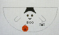 Handpainted Needlepoint Canvas Ghost Halloween Ornament Fancy Carole Gail Vail