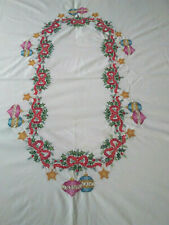 "VTG Hand Embroidered Christmas Table Christmas Ornaments Tablecloth  59"" X 86"""