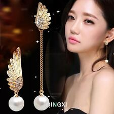Gold Pearl Angle Wing Asymmetry Long Dangling Earring
