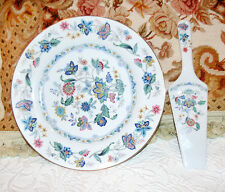 """ANDREA BY SADEK INDIA GARDEN 10.5"""" CHINA CAKE PIE PLATE & SERVER MADE IN JAPAN"""