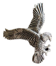 Eagle Swooping Pewter Pin Badge - Hand Made in Cornwall