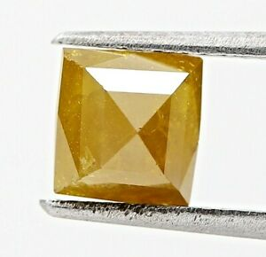 Natural Rustic Diamond Yellow Sparkling 1.99Ct Square Princess Step Cut for Gift