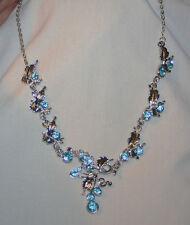 Lovely Sculpted Light Blue Rhinetones Leaf Clusters Silvertone Pendant Necklace