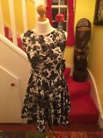 Lovely Ladies Club L 50's Style Black & White Floral Dress UK Size 10