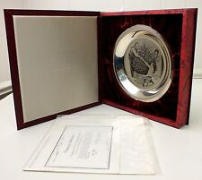 Norman Rockwell Plate Solid Sterling Silver Trimming the Tree 1973 Christmas COA