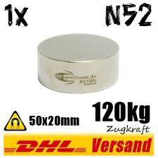Neodym Magnet 50x20mm 5x2cm 120kg N52 runder kräftiger Scheibenmagnet Scheibe