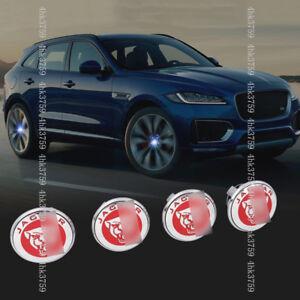 For Jaguar XE F-PACE E-PACE BLUE LED Light Wheel Center Caps Hub Cover 4pcs