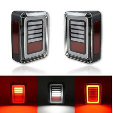 07-17 Jeep Wrangler Glow LED Rear Tail Turn Signal Brake Reverse Light Lens Pair