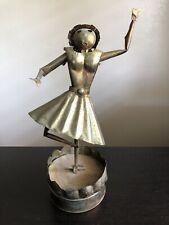 Vintage Mcm Brutalist Modern Copper Art Music Box Dancer Sculpture Spins Cool