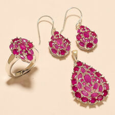 Natural Burmese Ruby Ring Earrings Pendant 925 Sterling Silver New year Jewelry