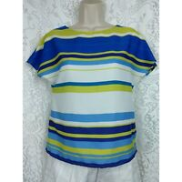 Ann Taylor Loft Blouse Size XS Petite Blue White Green Striped Short Sleeve