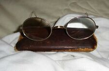 Vintage 1930's - 40's Yellow Gold Filled Wire Rim Glasses With Leather Case