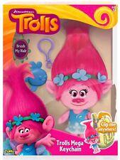 "Dreamworks Trolls 8"" Princess Poppy Mega Keychain & Brush - CLIP HER ANYWHERE!"