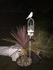 Kingfisher Solar Powered Bird Cage Crackle Glass Globe LED Garden Stake Light